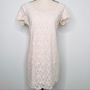 Talula Aritzia Cream Lace Short Sleeve Mini Dress